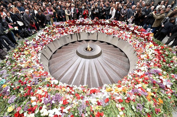 The Tsitsernakaberd Memorial Complex, a monument to the roughly 1.5 million Armenians killed, during a commemoration ceremony this April in Yerevan. Credit Kirill Kudryavtsev/Agence France-Presse — Getty Images