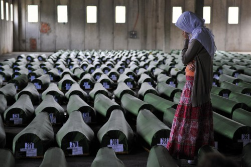 "A photo on display at the European Observatory on Memories, for an exhibit entitled ""Srebrenica: Memory of a Genocide"""